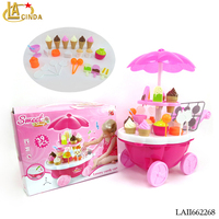 Girl gift play game ice cream cart plastic kids toys play game for sale
