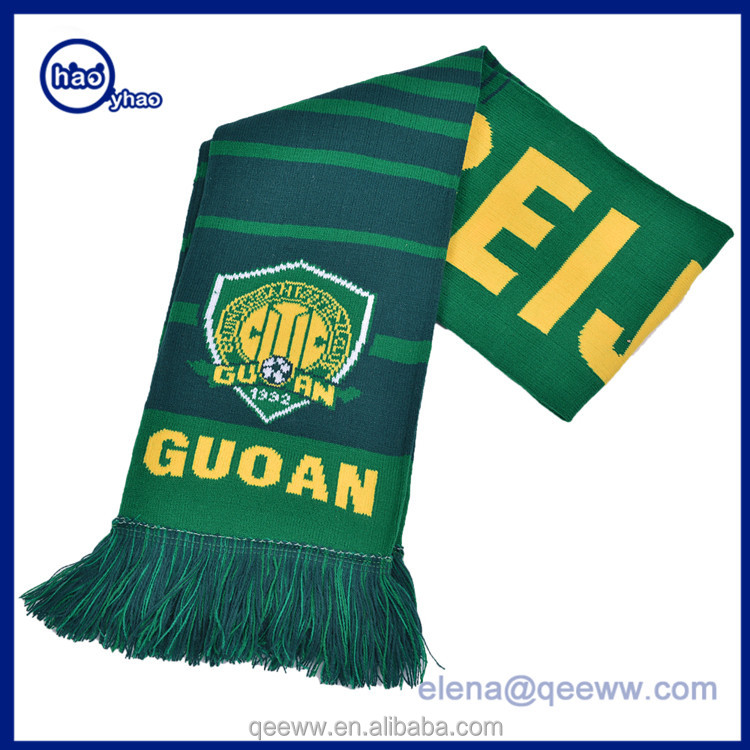 Yhao factory wholesale cutom stadium knit scarf with fringe football scarf