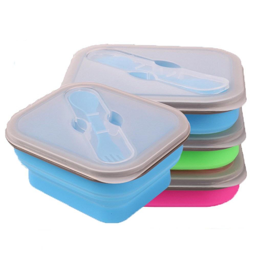 Vierkante inklapbare siliconen bento lunchbox containers opvouwbare siliconen voedsel container