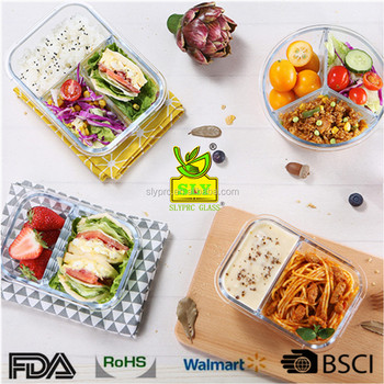 bento lunch box containers high glass food container with glass divider