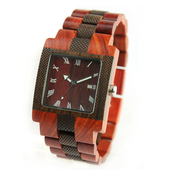 Classic Quartz Mens Watches Top Brand Square Face Wooden Watch