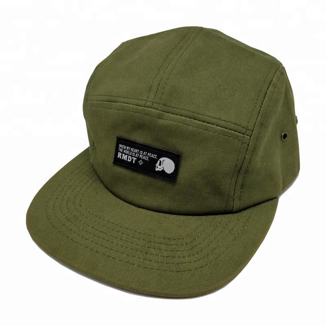1627459bf8f1f Rongxia woven label flat short brim 5 panel camp cap custom leather strap 5  panel hats