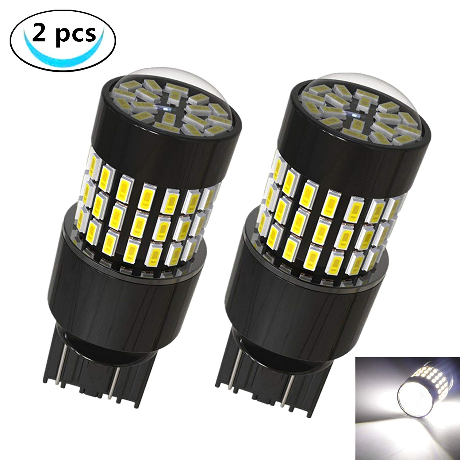 LABBYWAY 2 Pcs Super Bright Low Power 3014 78-EX Chipsets 7440 7443 992 T20 LED Used For Back Up Reverse Lights or Tail Brake Lights,Xenon White