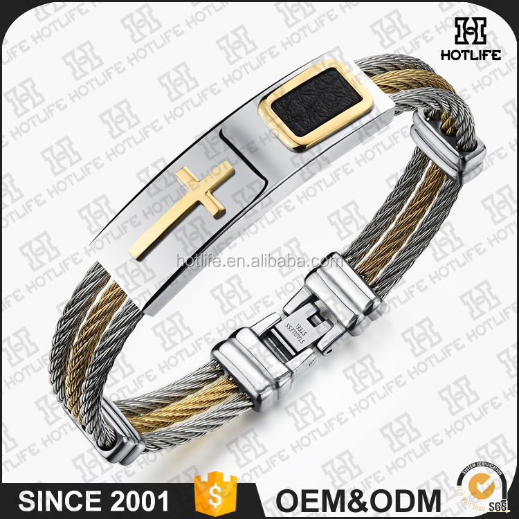 Philippines Hot Selling Mens Stainless Steel Cross ID Bracelet Bangle Two Tone Cable Rope Twist Chain Jewelry