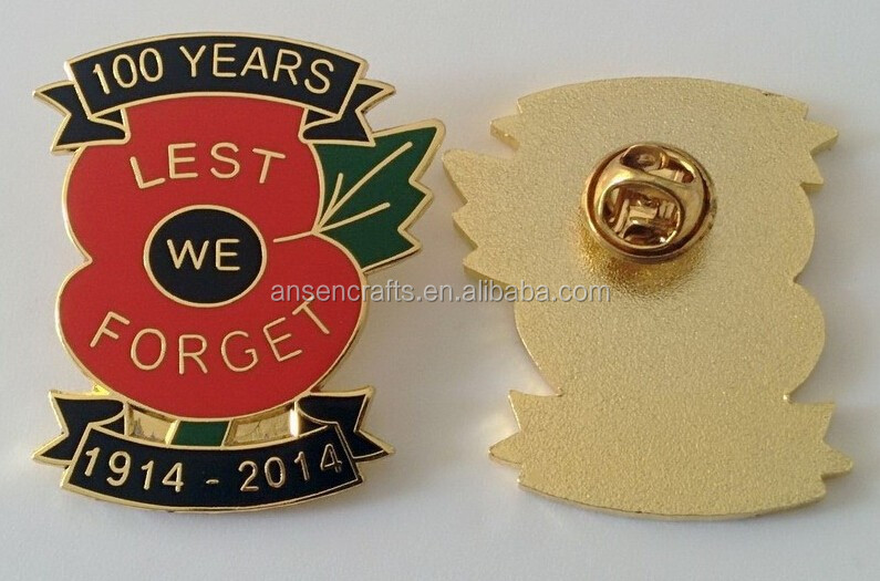 Hot Sales of custom Remember day lest we forget England poppy metal pin badge with leaf