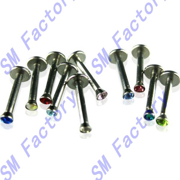 tiny 2mm press cz gem steel lip ring labret monroe 16g internally threaded stainless steel jewelry --SMCD327047