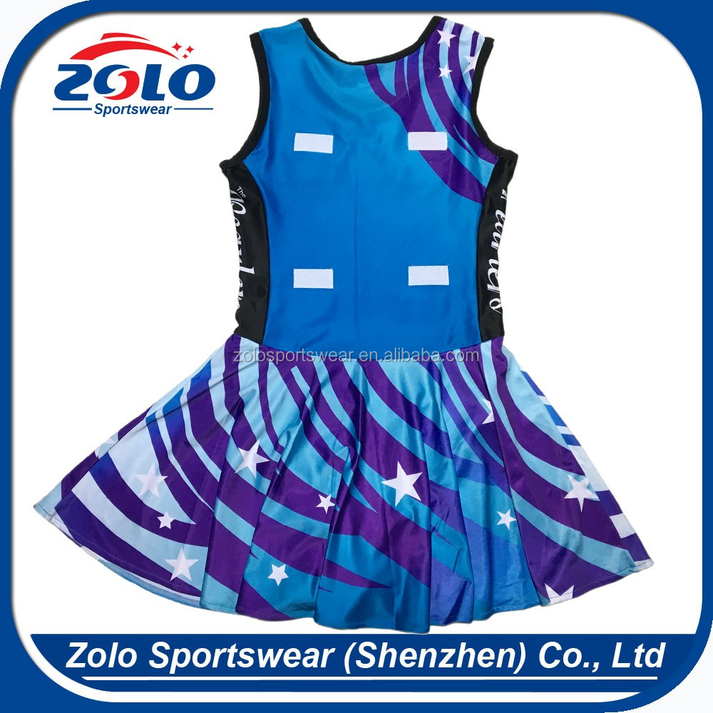 China manufacture custom made fully sublimation girls netball jersey