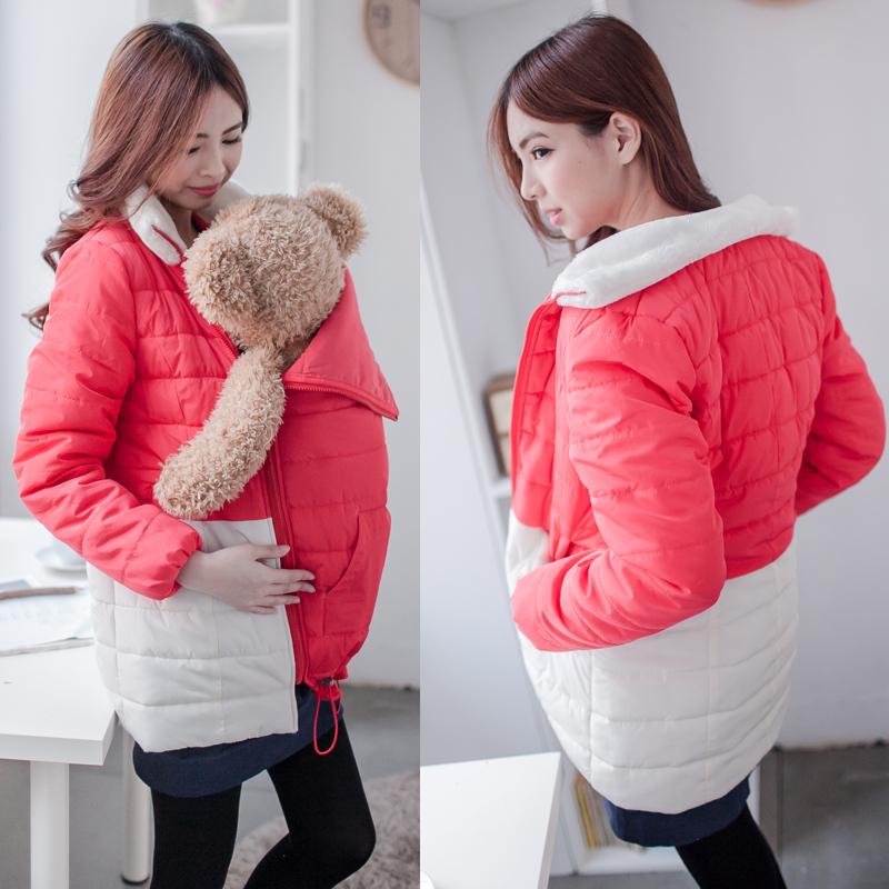 Одежда для комфортно беременным пальто сгущает потепление хлопка одежды для проведения младенцев беременных женщин куртки 2 в 1 использование