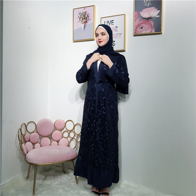 New collection wholesale women 4colors  open abaya high quality lace  leaves