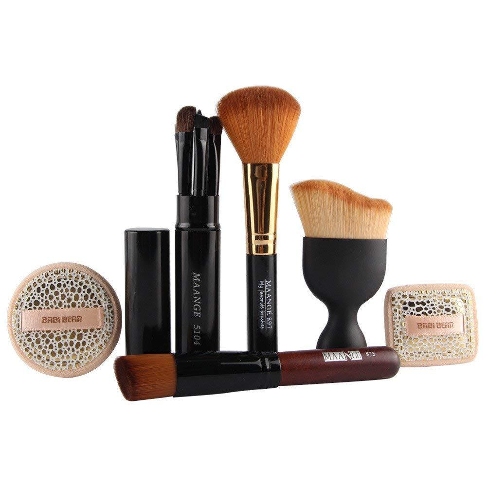 AccMart Make Up Brush Set Makeup Brush Powder Puff Comestic Set Foundation Brush Blush Brush Eye Brush Beauty Tools Supplies (8PCS)