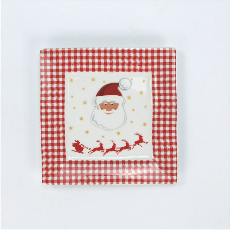 Tableware serving tray christmas holiday decal item red ceramic square plate