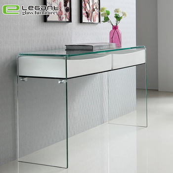 Luxury Hallway Furniture Bent Glass Console Table With Gloss White