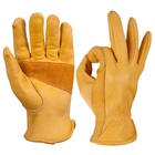Cheap Waterproof Safety Driver Cow Grain Leather Working Gloves Yellow .