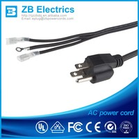 3 pin UL CSA approved 13A/ 125V power cord USA 3 cores AC electric power cords