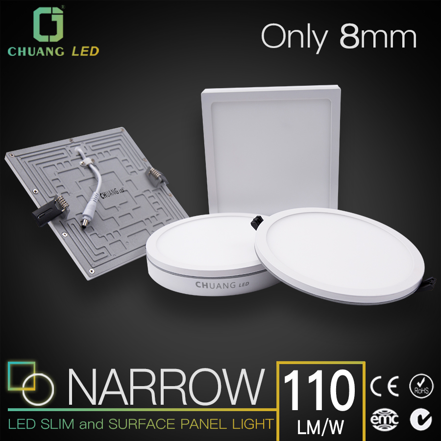 Chuang LED WP Narrow Edge Slim Panel light round square and surface panel Good quality 3 years 110lm/w