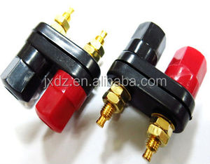 Gold Plated Black Shuangpin terminal 2 bit audio wiring terminal box banana plug