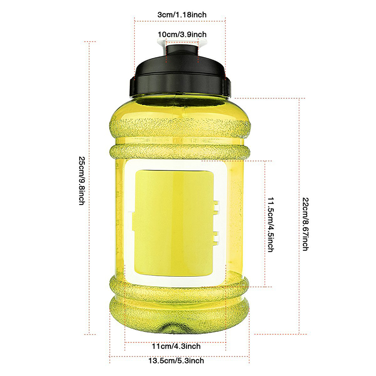 Hot sale items 2 litre plastic BPA free fitness branded tritan gallon water bottles with card holder