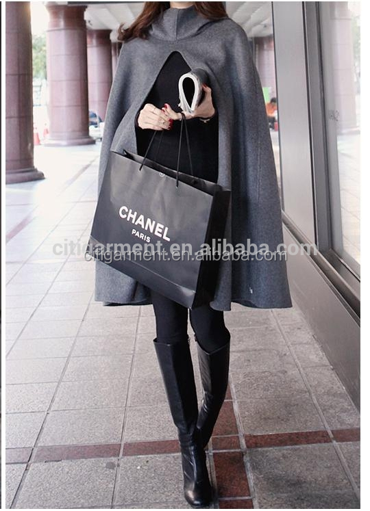 New European Fashion style Warm loose hooded batwing cape poncho parka trench women coat S/M/ L/ XL