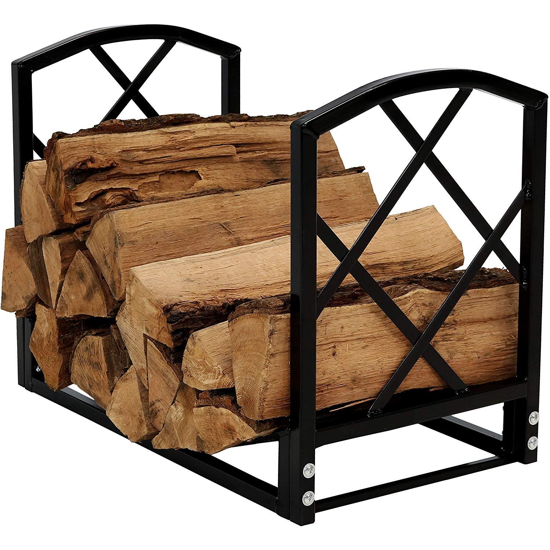 Sunnydaze 2-Foot Log Rack Firewood Storage, Heavy-Duty Steel with Diamond Design, Indoor/Outdoor