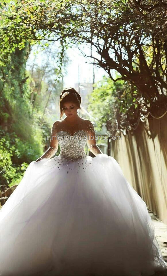 Long Sleeve Wedding Dresses with Rhinestones Crystals Major Beading Ball Gown Elegant Arabic Dubai Bridal Gowns Said
