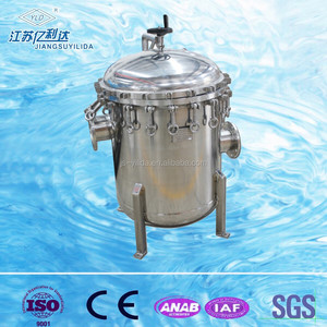 Multi-bag high flow rate bag water filter to remove solid particles