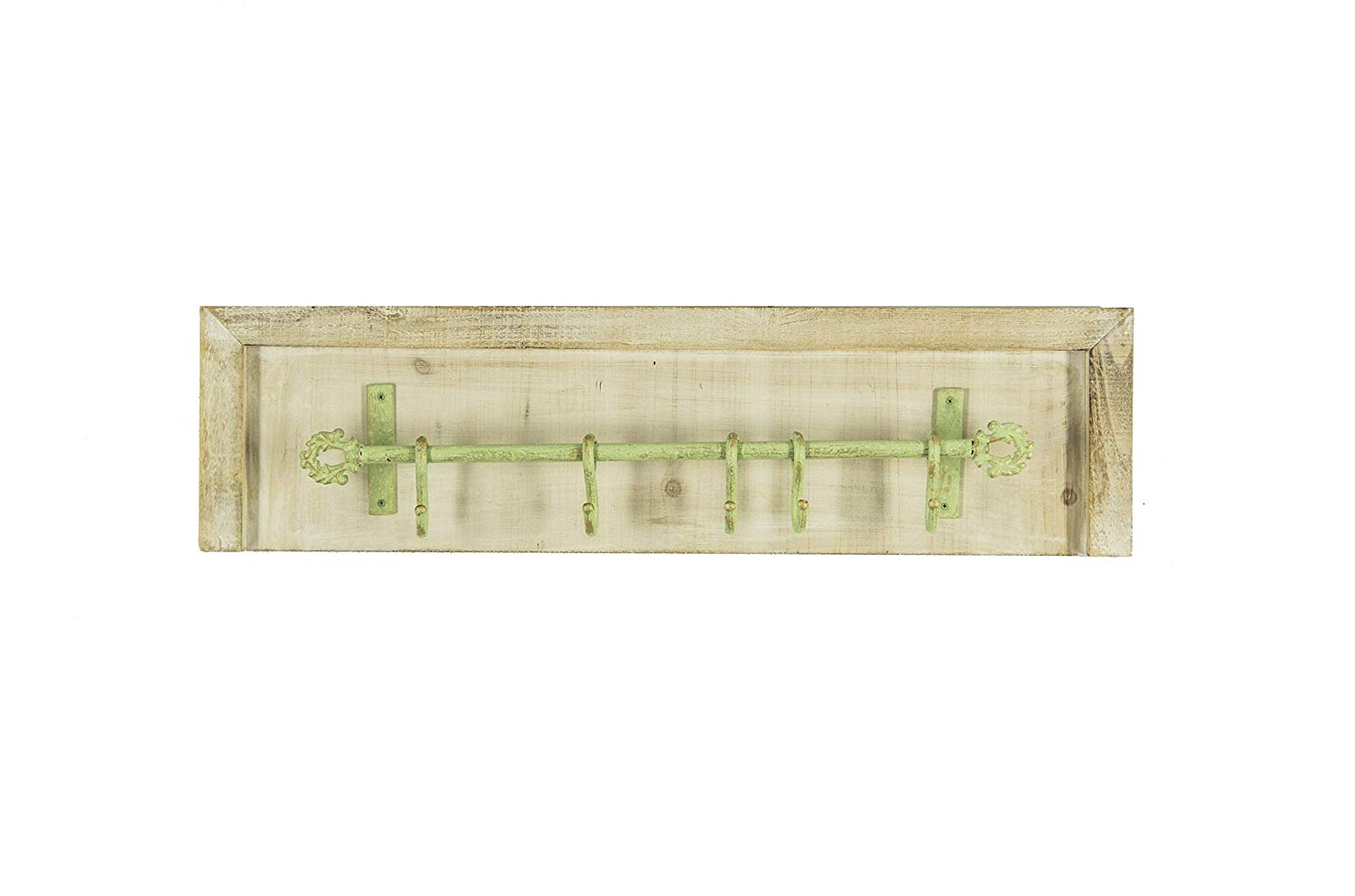Avignon Home AVIGNON Rustic Coat Hook Vintage Wooden Coat Rack With Rustic Metal Hooks 32 inches wide and 7 inches high