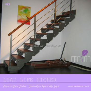 Indoor Wooden Prefabricated Stairs Steel Stringer