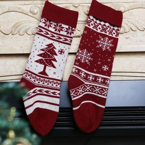 Family Christmas Stocking Personalized Knit Custom Red White Wool Snowflake Hand Knit Festival Holiday Stockings