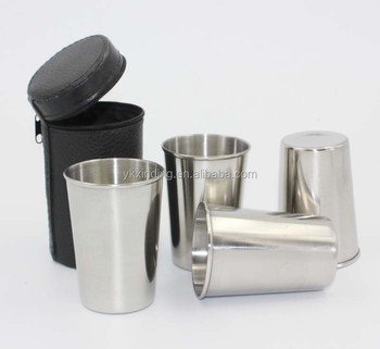 3oz set of 4 pcs Food grade single wall Stainless Steel Wine Glasses Beer cup coffee mugs with Black Leather Case pint cup