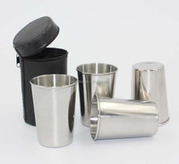 Food grade Stainless Steel Wine Glasses Beer cup / coffee mug with Black Leather Case,3oz set of 4 pcs
