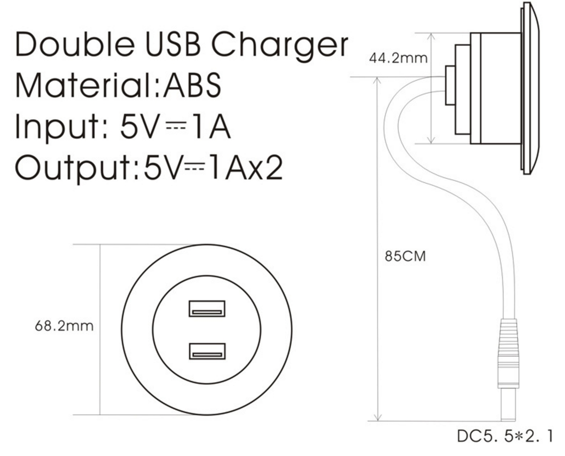 Mini Round Office Desk Sofa Embedded In Dual Usb Charging Buy Charger Diagram