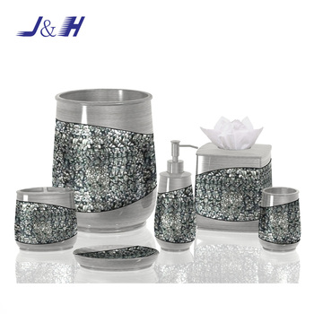 Good Quality Mosaic Effect Resin And Glass Bathroom Accessories Sets