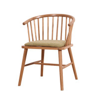 Solid Wood Oak Round Back Windsor Designer Restaurant Chair