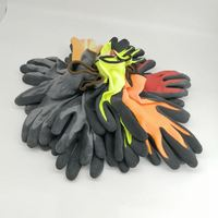 Hard-wearing industrial Orange wrinkle rubber coated yellow cotton gloves