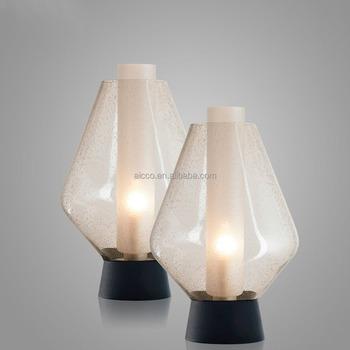Modern Glass Table Lamp Bubble Glass Decorative Table Lamp Rechargable  Green Glass LED Table Lamp