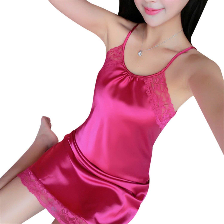 Penin Womens Silk Nightgowns Sleepwear Satin Night Dress Babydoll Sexy Lingerie Nightdress Lace Sleepshirt Night Gown