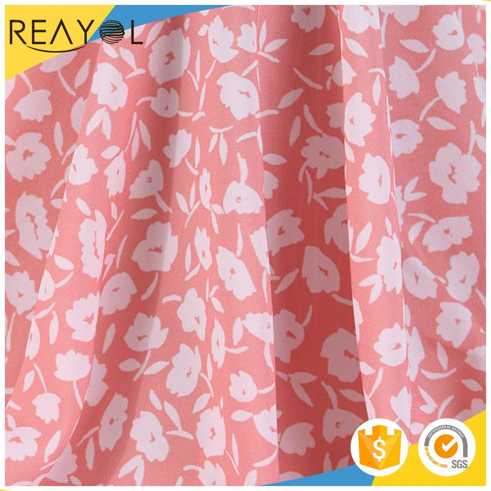 2017 New arrivals pink white flower woven polyester screen printing fabric for girl dress