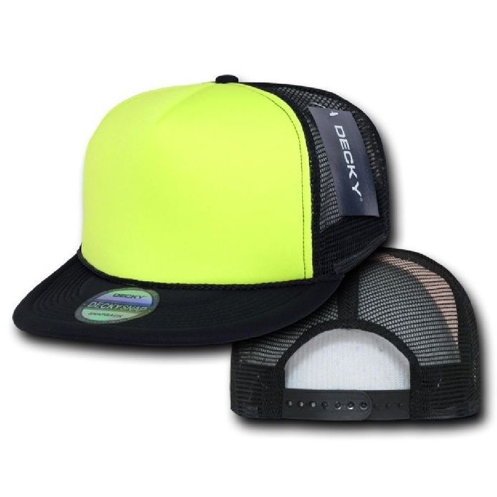ea39612bfb6535 Get Quotations · Black & Yellow Flat Bill Neon Classic Mesh Foam Trucker  Vintage Baseball Hat Cap