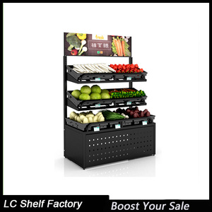 Free standing vegetable fruit display rack for store