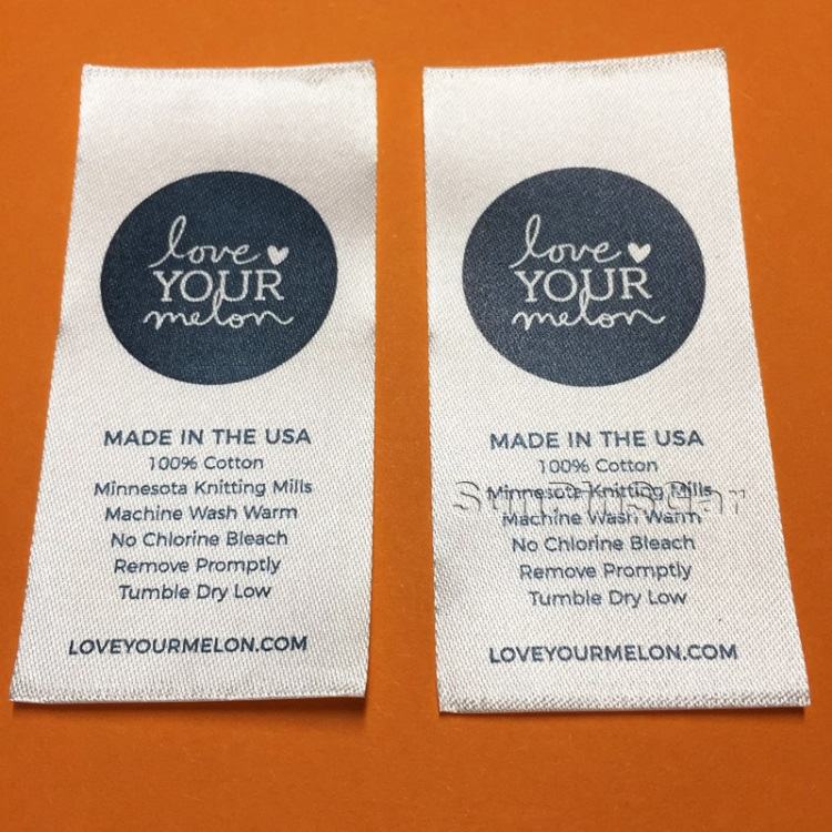 custom satin printing silk screen printed labels
