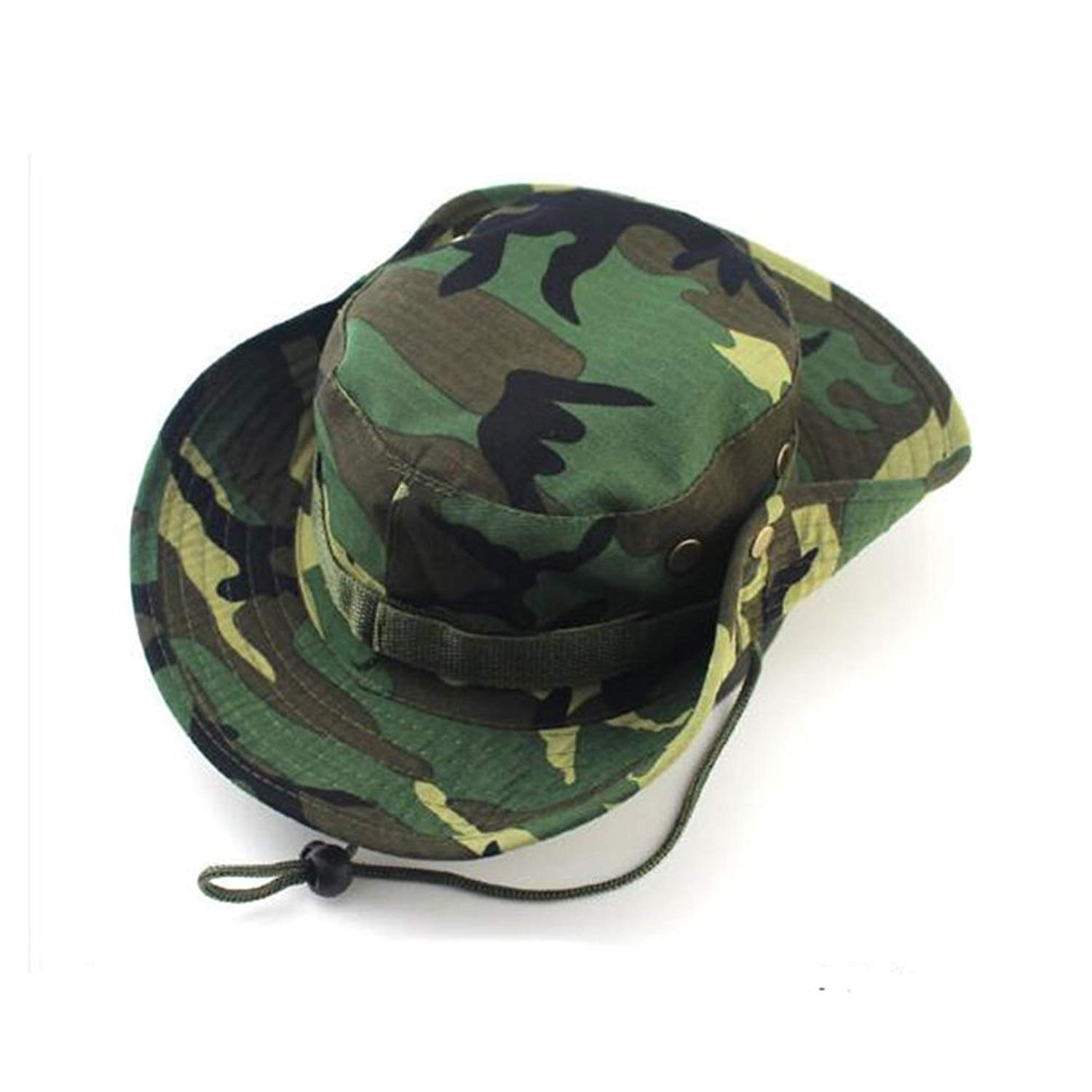 f5ecf6eca89 Get Quotations · Tinksky Men s Fishing Cap Summer Boonie Hat with Chin  Strap for Outdoor Activities (Field Camo