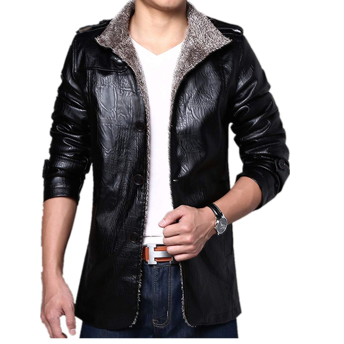 533ed561f413 XWDA PU Leather Jacket Men Thicken Fur Lined Coat Warm Stand Collar Vintage  Outwear with Buttons