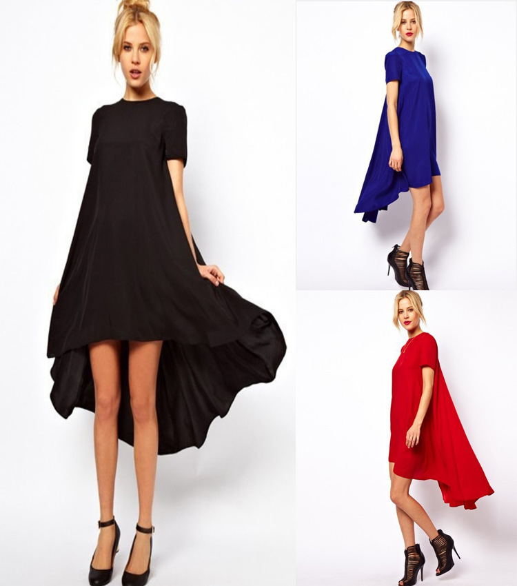 633e687f538f9 Get Quotations · 2015 New Trends Summer Chiffon Asymmetrical Dress Short  Sleeve Round Neck Blue Red Black Plus Size