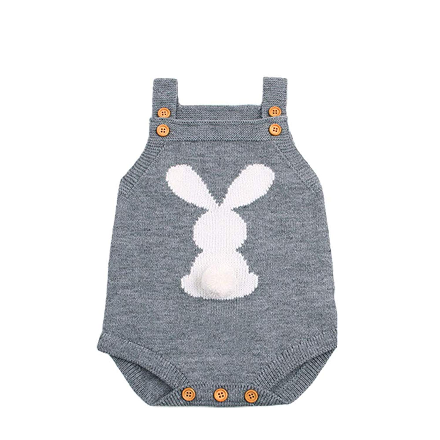 edafdf0a9c54 Get Quotations · Digirlsor Baby Unisex Knit Romper Toddler Boy Girl Jumpsuit  Cute Bunny Sleeveless Outfit Clothes
