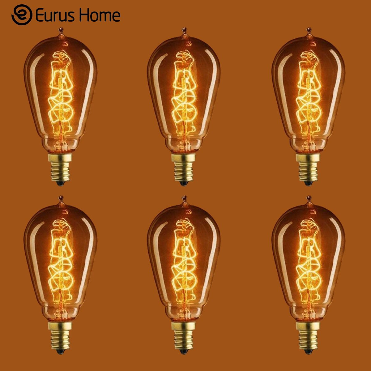 Eurus Home 25 Watt - Vintage Antique Light Bulb - ST15 Edison Style - Candelabra Base - Hand-Wound Spiral Tungsten Filament - Multiple Supports - Clear (6 Pack)