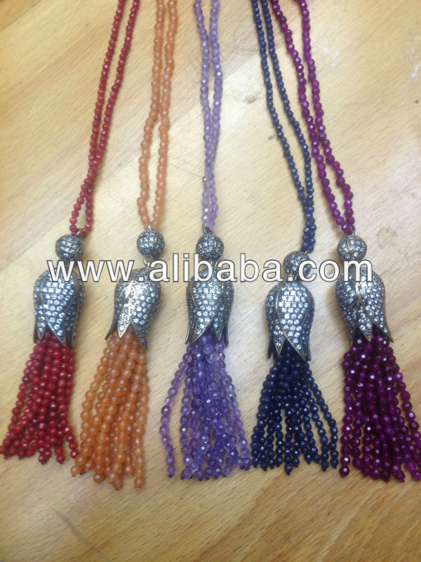 Gemstone Beaded Tassel Jewelry Emerald Ruby Beads Fringe Jewellery Turkish Jade Bib Jewelery Statement Necklace Pendant Charm