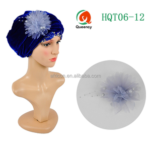 HQT06 Queency African Headtie Turban Gele Velvet Fabric Head Wrap Headwraps Headscarf with Elegant Brooches