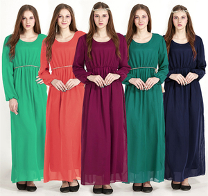 A3267 Muslim women ladies chiffon elastic waist muslim prayer abaya