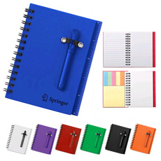 Creative gift 2 in 1 functions pocket compact sided elastic belt small ball pen memo sheets sticky note paper lines mini booklet