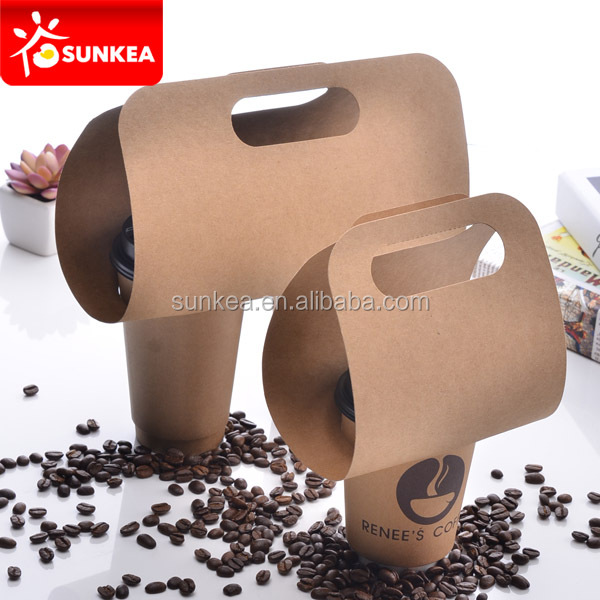 High Quality Take Away White Paper Board Coffee Cup Carrier Tray